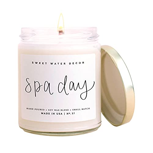 Sweet Water Decor Spa Day Candle | Sea Salt, Jasmine, and Wood Relaxing Scented Soy Wax Candle for Home | 9oz Clear Glass Jar, 40 Hour Burn Time, Made in the USA