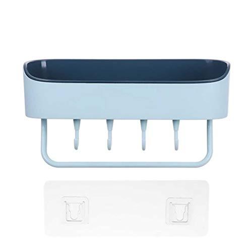 台所棚 浴室用ラック 粘着式 シャワーラック お風呂 ラック 壁 棚 洗面所ラック ホルダー 壁掛けラック 調味料 収納ラック (青)