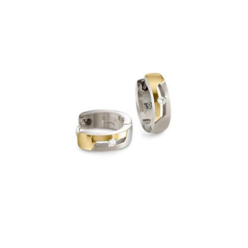 Boccia Damen-Creolen Titan mit Diamanten bicolor 05045-04