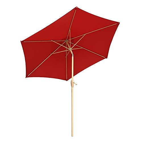 Sekey® Ombrellone in Ombrello Parasole da Esterno da Giardino Ø 270 cm Protezione Solare UV50+ (Rosso)