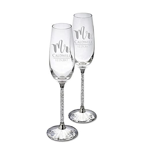 Laimai Copa de champán de Vino Personalizada con Tallo Logotipo de Texto Grabado Boda para Parejas Regalos para Hombres Mujeres Marido Esposa