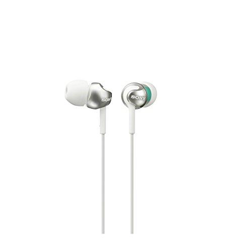 Sony MDR-EX110LP - Auriculares de botón, color blanco con verde