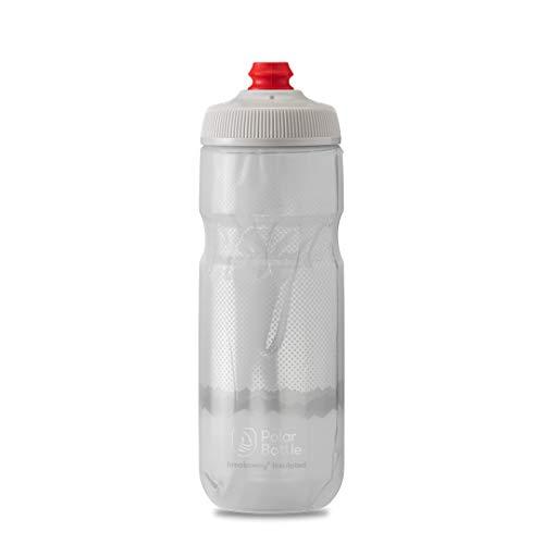 Polar Bottle Breakaway Insulated Bike Water Bottle - BPA Free, Cycling & Sports Squeeze Bottle (Ridge - White & Silver, 20 oz)