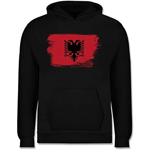 Städte & Länder Kind - Flagge Vintage Albanien - 128 (7/8 Jahre) - Schwarz - JH001K_Kinder_Hoodie - JH001K - Kinder Hoodie