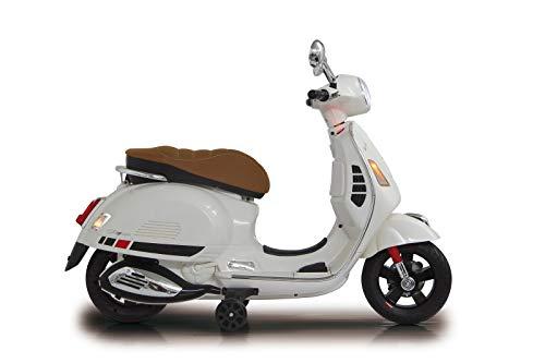 JAMARA 460346 - Ride-on Vespa 12V - Leistungsstarker Antriebsmotor und Akku für lange Fahrzeit, SD-Karten Slot, AUX- und USB-Anschluss, Ultra-Grip Gummiring am Rad, Stützräder, LED-Scheinwerfer, weiß