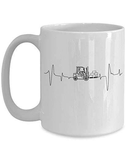 Heftruck Operator 15 oz Mok Heftruck Driver Heftruck Guy Gift Heftruck Papa Magazijn Medewerker Vork Lift Driver Heartbeat Pulse