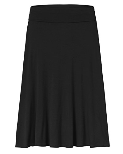 Amie Finery Knee Length Midi Skirt A Line Flared Swing Fold Over Skirt For Women Made In USA Large Black