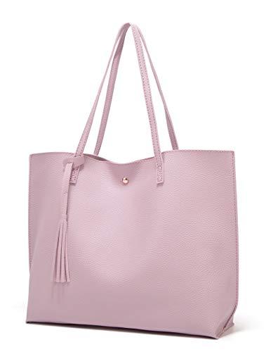 Women's Soft Faux Leather Tote Shoulder Bag from Dreubea, Big Capacity Tassel Handbag Light Purple