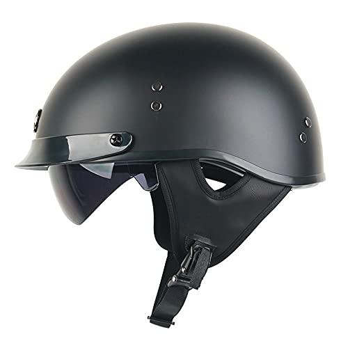 RMBDD ABS Brillante Negro/Blanco Medio Casco de Motocicleta Visera el Sol Dot/ECE Gorra de Calavera Unisex para Adultos Bordes de Cuero Scooter de Bicicleta ATV UTV Patineta Chopper
