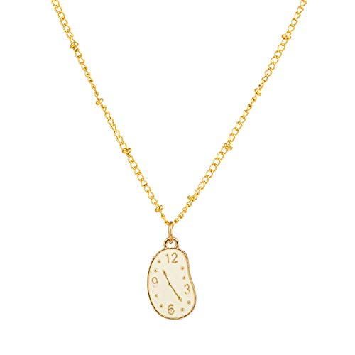 DGSDFGAH Collar De Mujer Reloj De Dibujos Animados Exquisito Vintage Colgante Lindo Suéter Cadena Encanto Elegante Collares Pendientes Simples Joyería De Moda Temperamento Suéter Lindo Collare