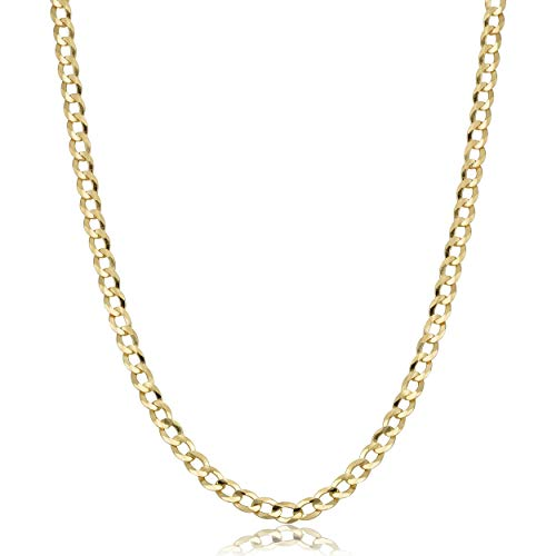 """Verona Jewelers 10K Gold Unisex 2.2mm Italian Cuban Curb Link Chain Necklace- 10K Necklaces,16"""" 18"""" 20"""" 24"""" 30"""" (24) (16)"""