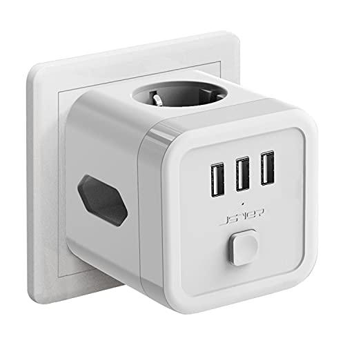 JSVER Enchufe Pared USB,Cubo Enchufe 3 Tomas con 3 Puertos de USB Ladron Regleta (1 Schuko Europeo de 2 Pines+2 Enchufes EU) Proteccion Sobretension Enchufe Alargador para iPad iPhone Tablets Blanco