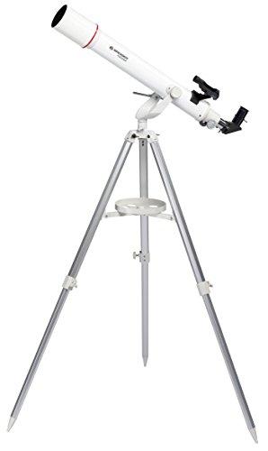 Bresser Refraktor Teleskop Messier AR-70/700 AZ mit Aluminium 3-Bein-Stativ, Azimutaler Montierung, LED-Leuchtpunktsucher und Smartphone Kamera Adapter für Einsteiger, weiß