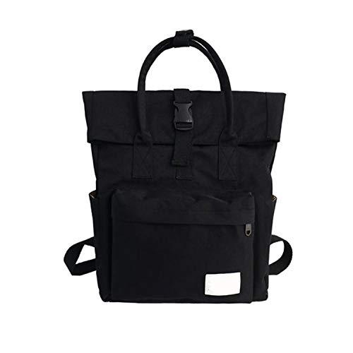 Hengheng-shop backpacks Donne Zaini Stile Preppy Large Scuola Zaini per Ragazze adolescenti Tela Top Handle Borsa a Spalla Femminile 2019, Nero (Nero) - shoulder-handbags