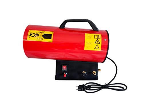 UISEBRT Heizgeräte Gas, 15 KW Gasheizer Gasheizgebläse Thermostat, Heißluftgenerator (220V-240V, Propan/Butan-Flaschen, mit Druckminderventil und Gasschlauch)