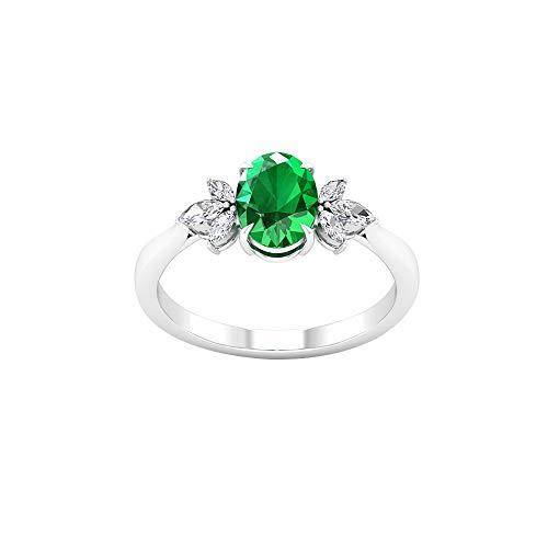 Anillos de compromiso de esmeralda con forma ovalada de 1,26 CT, anillos de compromiso de conglomerado de diamantes certificados por Marquise SGL, 14K Oro rosa, Size:EU 70