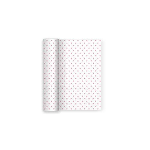 Maxi Products Mantel de Papel para Fiesta Blanco con Decorado de Estrellas Rosa Baby - 1,2 x 5 m (Rosa)
