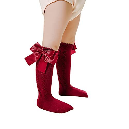 Calcetines de la rodilla de las muchachas del bebé, calcetines suaves del algodón del punto del cable con el lazo para los niños nuevos calcetines largos de, rojo vino, L