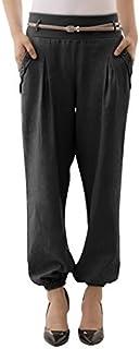 Yidarton Women's Plain Elastic Waist Boho Harem Pants with Side Pockets, Include a Belt
