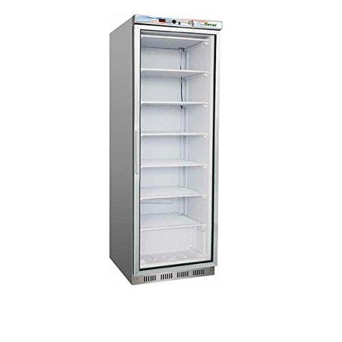 Schrank Kühlschrank Kühlschrank Gefrierschrank 400LT. Gehäuse aus Edelstahl, Glastür Temp. - 18°/-22°C