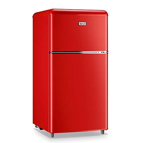 Mini refrigerador de 3,2 pies cúbicos clásico retro refrigerador de 2 puertas