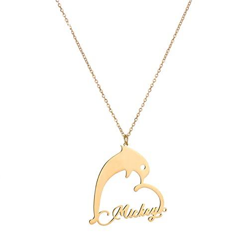 JIAQINGRNM Collar con colgante de delfín en forma de corazón con nombre de collar de animales de mar simple collar de San Valentín