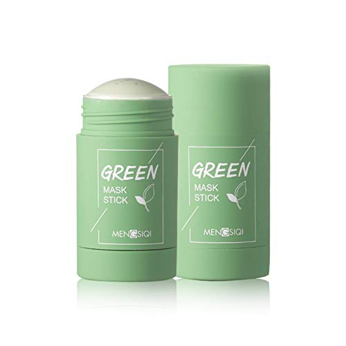 RANSHUO Grüner Tee Purifying Clay Stick Mask Ölkontrolle Anti-Akne-Aubergine Fine Solid, Akne Cleansing Solid Mask Green Tea