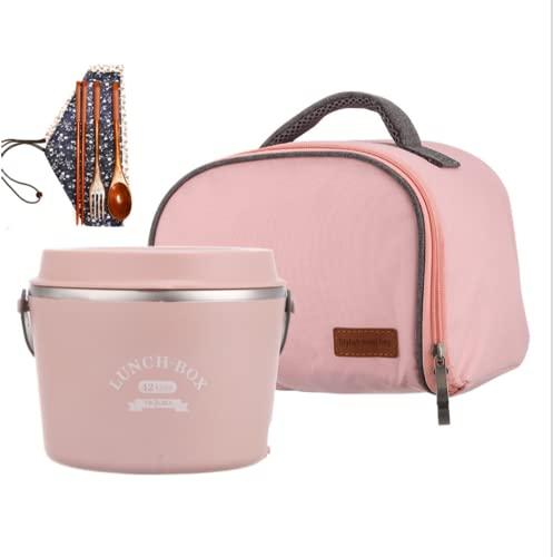 Phil Beauty Fiambrera Eléctrica Caja Bento Fiambrera Aislada De Acero Inoxidable 1,2L Viaje De Oficina Sin Ruidos 48W con Vajilla Pink