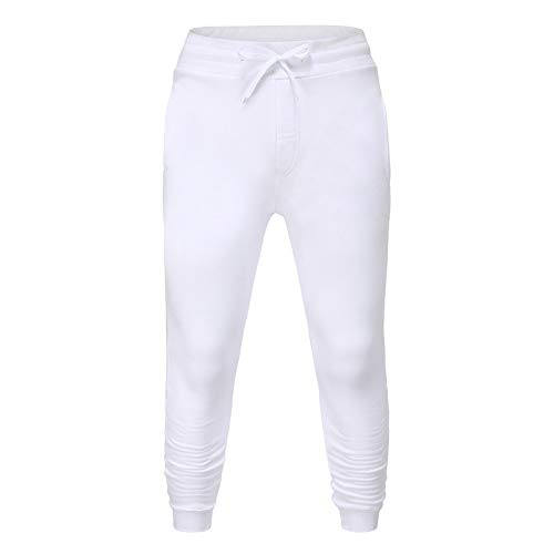 Katenyl Men's Fashion Large Size Solid Color Trousers Streetwear Loose Casual All-Match Comfortable Autumn and Winter Sweatpants M White