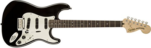 Squier by Fender Deluxe Hot Rails Stratocaster Beginner Electric Guitar - Black