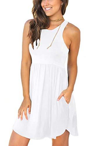 LONGYUAN Women's Summer Casual Tshirt Dress Swing Beach Dresses Medium, White