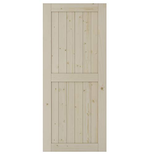 SmartStandard 36in x 84in Sliding Barn Wood Door Pre-Drilled Ready to Assemble, DIY Unfinished Solid Spruce Wood Panelled Slab, Interior Single Door Only, Natural, H-Frame (Fit 6FT -6.6FT Rail)