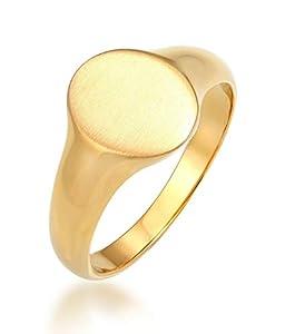 Kuzzoi Siegelring Herrenring oval matt, massiv 12 mm breit in 925 Sterling Silber vergoldet, Basic Silberring gelbgoldfarben, Ring für Männer in der Ringgröße 56, 0602962120_56