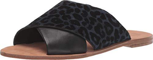 Diane von Furstenberg Bailie Ocean/Black Flocked Leopard Suede 7.5 M