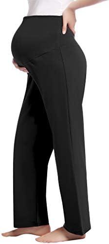 Joyaria Womens Maternity Pregnancy high Waisted Waist Yoga Pants Sweatpants Plus Size Black product image