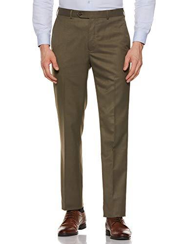 Raymond Men's Straight Fit Formal Trousers (RMTX03129-N6_Dark Green_38W x 36L)