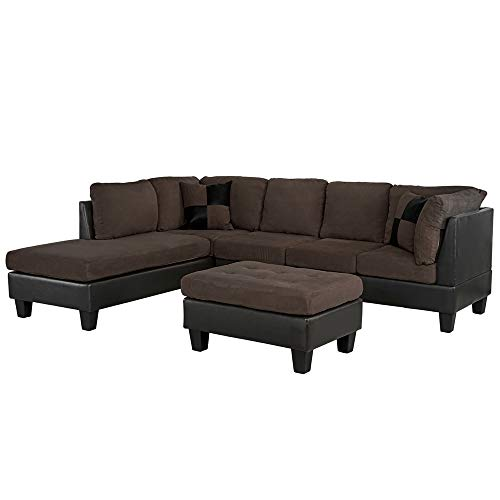 Casa Andrea Milano llc Modern Microfiber and Faux Leather Sectional Sofa and Ottoman Set, Brown