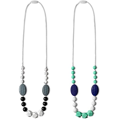 WATINC 2pcs Baby Teething Necklace for Mom, Silicone Teething Necklace for Baby, Sensory Nursing Teether Necklace Chewable Jewelry Beads, Teething Beads Sensory Chew Necklaces (Green Blue, Black Gray)