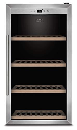 CASO WineSafe 75 Design Weinkühlschrank für bis zu 75 Flaschen (bis zu 310 mm Höhe), eine Temperaturzone 5-20°C für Rotwein oder Weißwein, Getränkekühlschrank, Energieklasse A