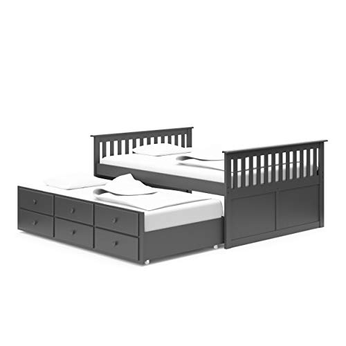StorkCraft Marco Island Captain's Bed with Trundle and Drawers - Full (Gray)