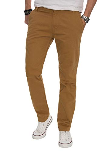 A. Salvarini Herren Designer Chino Stoff Hose Chinohose Regular Fit AS016 AS-016-Camel-W34-L30