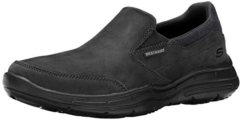 Skechers Glides-Calculous, Zapatillas de Entrenamiento Hombre, Negro (BLK Black Leather), 45 EU
