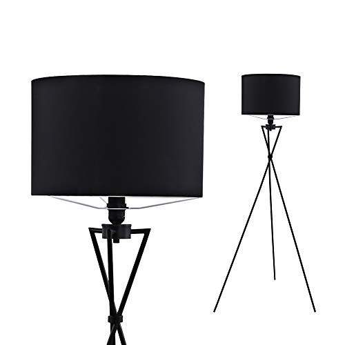 Briloner Leuchten Stehleuchte, Moderne Wohnzimmerlampe, Stoffschirm in schwarz, E27, inkl. Schnurschalter, Metall, 60 W, 650x1.42mm (BxH), Ø Schirm 380mm