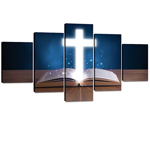 Yatsen Bridge 5 Panels Blue and White Background Bible Book Christian Cross Wall Art Religious Artwork Home Decor for Bedroom Living Room-60W x 32H inch