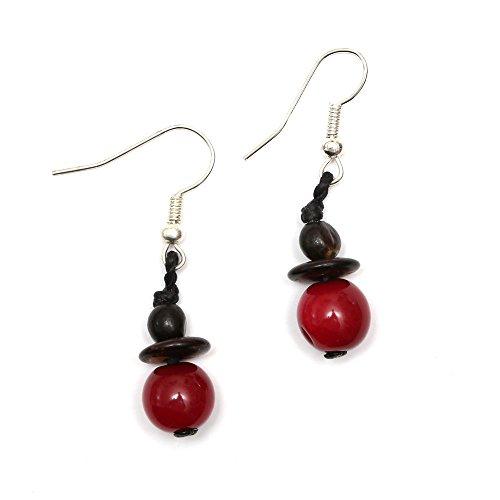 Idin Tagua Ohrringe - Rote Taguaperlen und schwarze Samen (ca. 4 cm lang)
