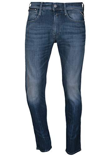REPLAY Anbass Coin Zip Jeans, Medium Blue 576, 30W / 34L Uomo