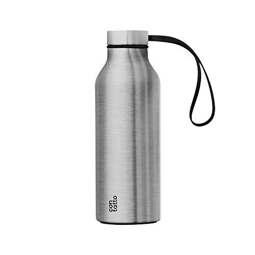 con-tatto Bottle Bottiglia Termica con 3 Pareti in Acciaio e Rame - Bevande Fredde per 25 Ore e Calde per 15 Ore - Fascia e Tappo Sport Lid Inclusi! (Steel)