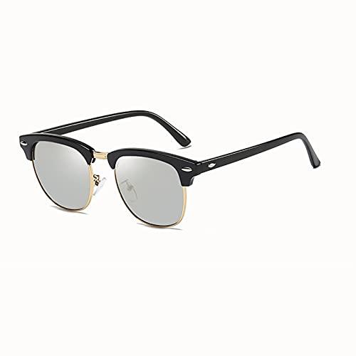 MOMAMOM Gafas De Sol Polarizadas Hombre Mujer Protección UV Antirreflejos Aire Libre Conducción Vintage Lentes Viaje Unisex Moda Ovalada Ligero Marco Metal Silver