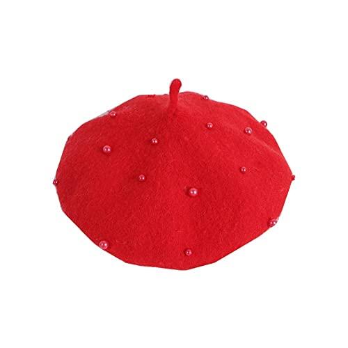 JINSHAO Princesa Kids Girls Caps Berets Encantador Perla Goreros Sombreros Primavera Otoño Invierno Niñas Niñas Sombreros (Color : Red, Size : 2-6Years)