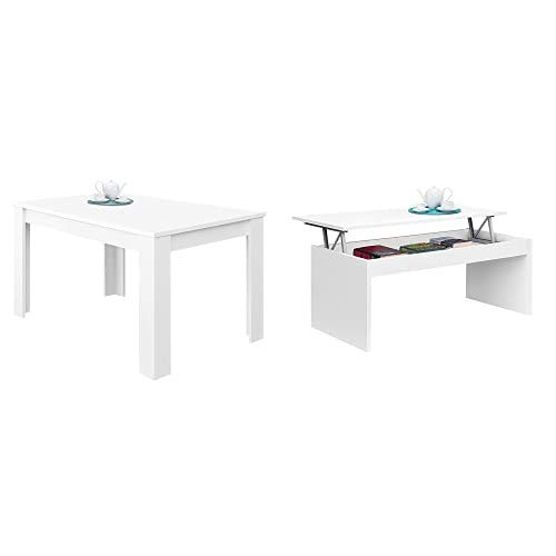 Habitdesign Mesa de Comedor Extensible, Mesa salón o Cocina, Acabado en Color Blanco Brillo, Modelo Kendra, Medidas: 140-190 cm (Largo) x 90 cm (Ancho) x 78 cm (Alto) + Mesa de Centro elevable
